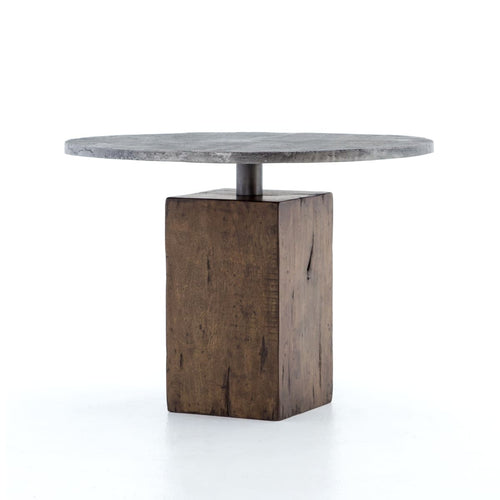 BLOOMER BISTRO TABLE: Weathered Hickory, Light Gunmetal