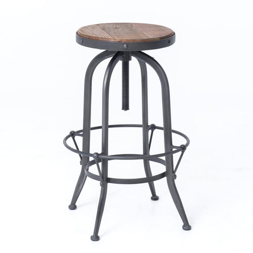 BRISTEL BAR STOOL: Rustic Black, Waxed Bleached Pine
