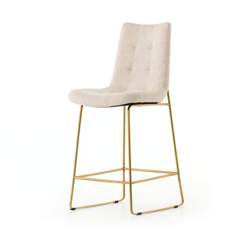 CAMILA COUNTER STOOL, SAVILE FLAX, SATIN BRASS