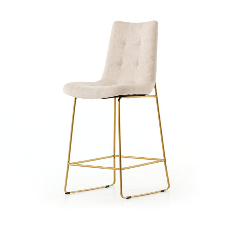 CAMILA BAR + COUNTER STOOL SAVILE FLAX SATIN BRASS - Bar Stool