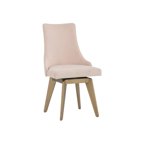 CARA SWIVEL DINING CHAIR - VELVET BLUSH FABRIC - DINING CHAIR