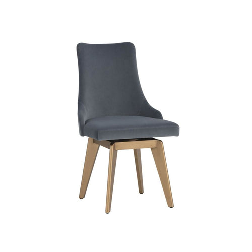 CARA SWIVEL DINING CHAIR - VELVET SLATE FABRIC SLATE