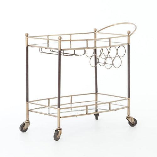 COLEY BAR CART-ANTIQUE BRASS:  Antique Copper, Tempered Glass