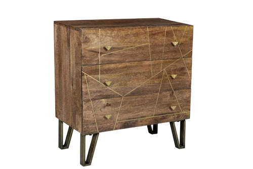 Bengal Manor Mango Wood 3 Drawer Brass Inlay Chest with Iron Legs