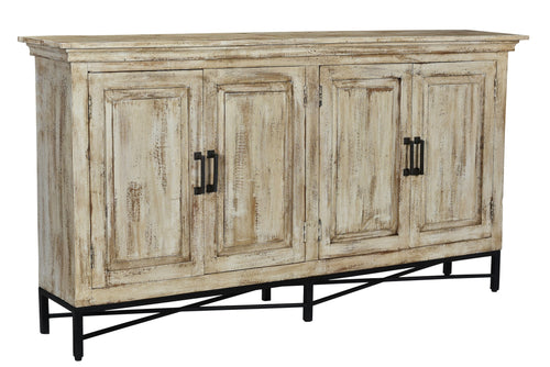 Bengal Manor Mango Wood 4 Door Sideboard Heavily Distressed Antique White Finish
