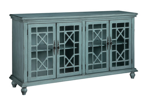 Mendenhall 4 Geometric Glass Door Textured Teal Sideboard