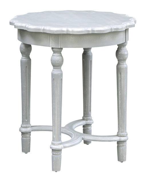Pembroke Turned Leg Chalk Grey Scalloped Accent Table