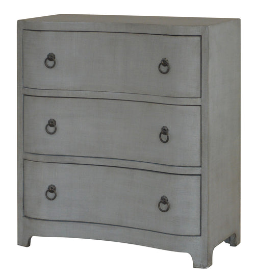 Brookstone 3 Curved Drawer Brushed Grey Linen Finish Chest