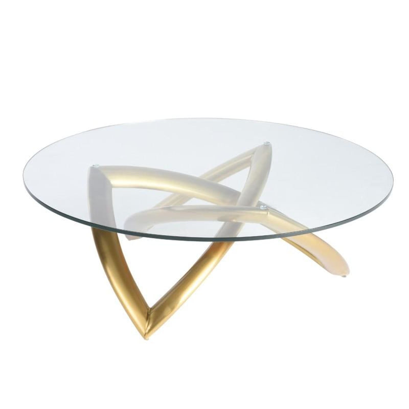 DARIEL COFFEE TABLE CLEAR BRUSH GOLD - coffee tables