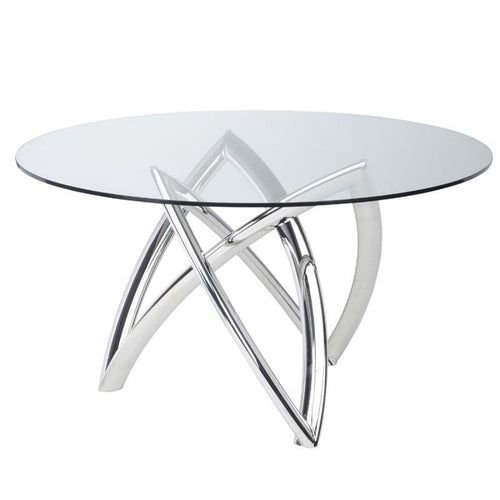 DARIEL DINING TABLE CLEAR STAINLESS 53""