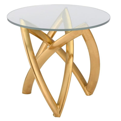 DARIEL SIDE TABLE CLEAR BRUSH GOLD