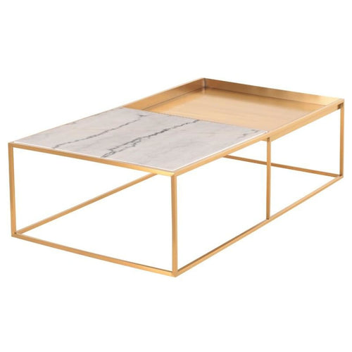 DECIMA COFFEE TABLE WHITE 55.3″ x 30″ x 15″