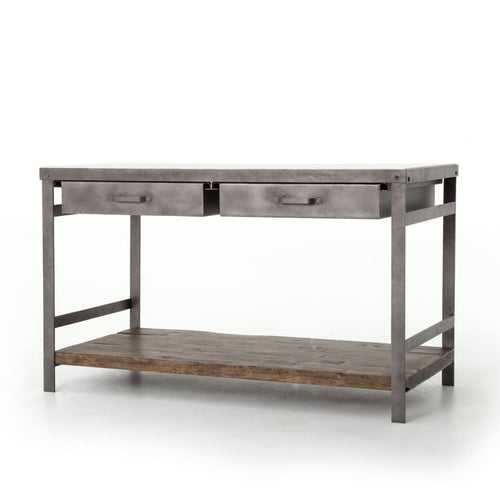 ELLIS KITCHEN ISLAND: Gunmetal Weathered Hickory Polished White Marble - Cabinet