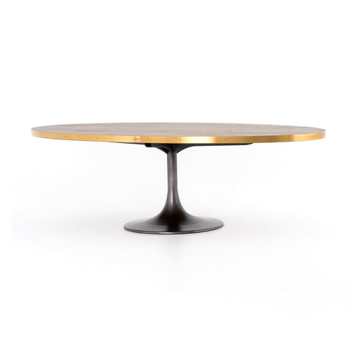 "EVANSLEY 98"" OVAL DINING TABLE: Vessel Grey, Polished Brass, Light Burnt Oak"