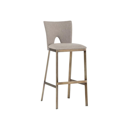 FABION BAR STOOL - ANTIQUE GOLD - BISCOTTI BROWN FABRIC SET OF 2