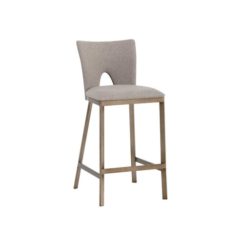 FABION COUNTER STOOL - ANTIQUE GOLD - BISCOTTI BROWN FABRIC SET OF 2