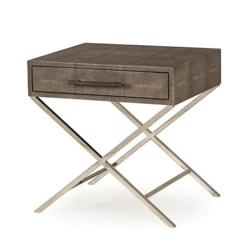 GALTERIO SIDE TABLE - CHARCOAL SHAGREEN - End tables