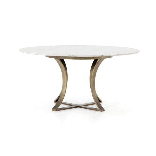 GAUGE DINING TABLE:  Antique Brass, Polished White Marble