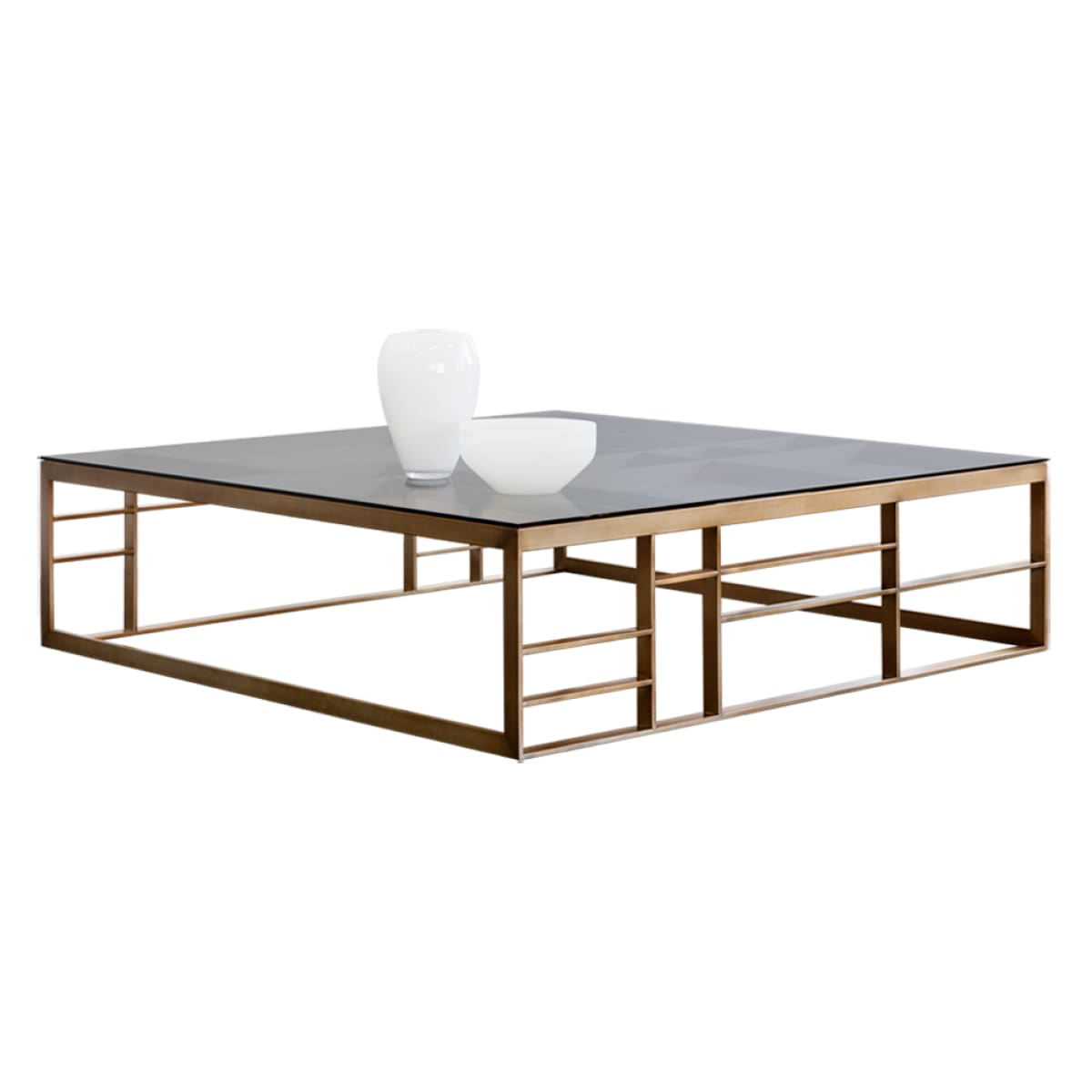 GLAUCUS COFFEE TABLE   SQUARE   ANTIQUE BRASS   BROWN GLASS   Coffee Table