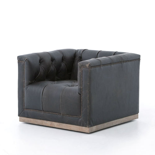GODFREY SWIVEL CHAIR DESTROYED BLACK - Chairs