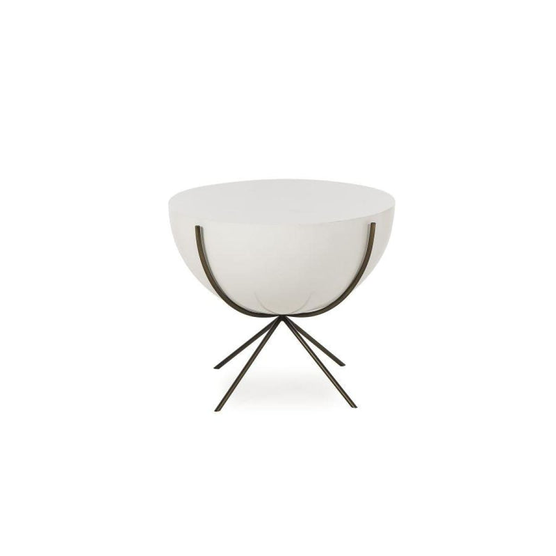 GOODWIN SIDE TABLE - 24 DIAMETER BOWL DESIGN - WHITE LACQUER - End tables