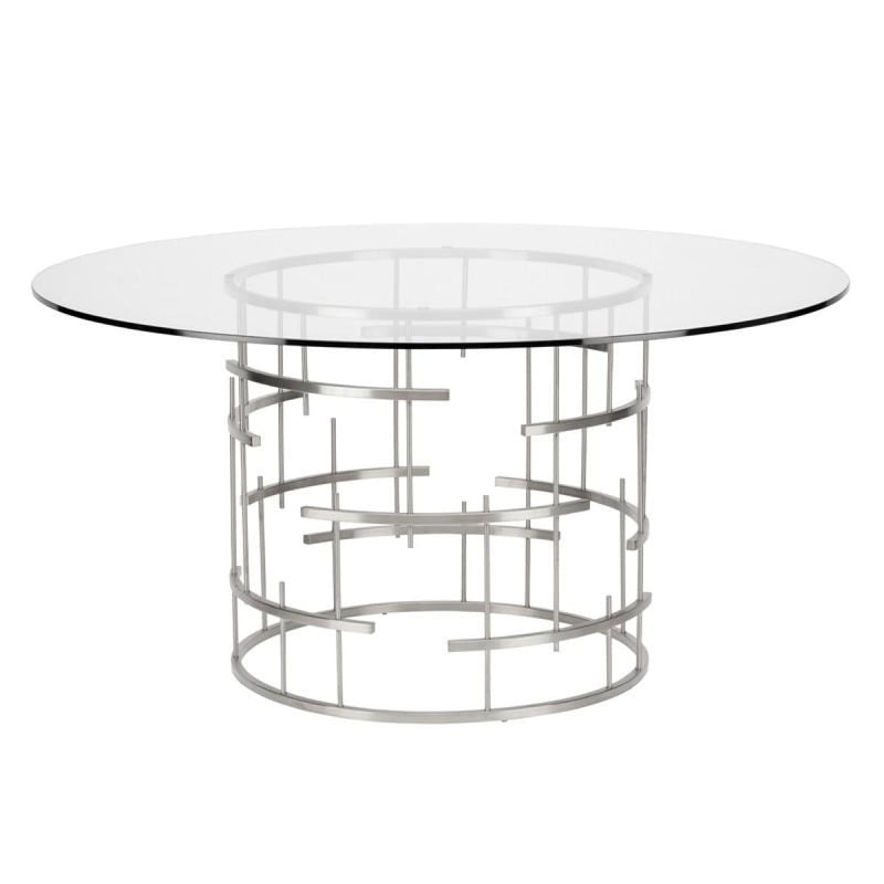HIRAM DINING TABLE CLEAR STAINLESS - Dining Tables
