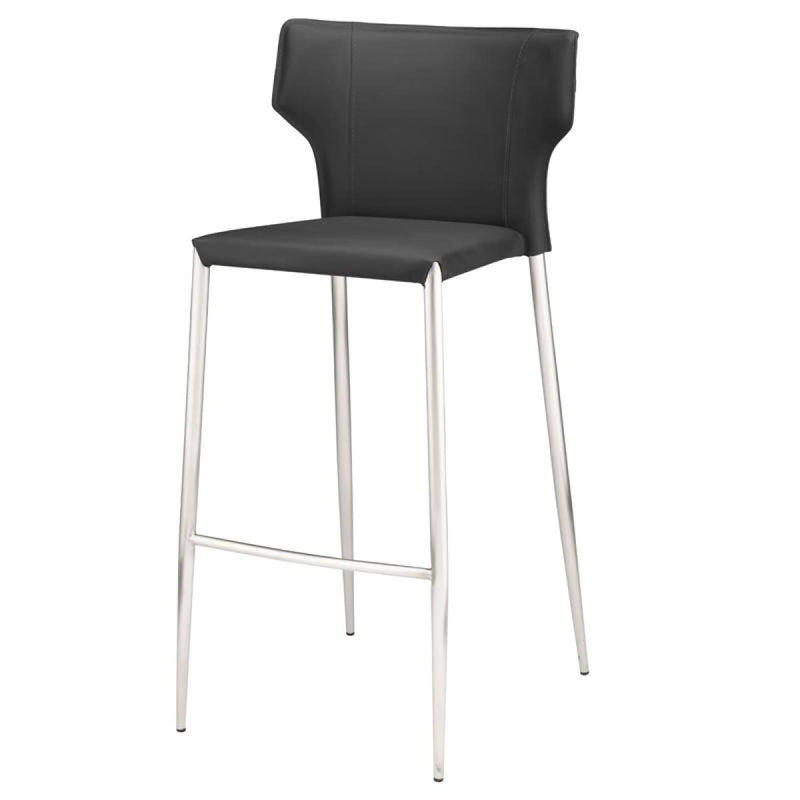 INTEUS COUNTER STOOL BLACK STAINLESS - COUNTER STOOLS