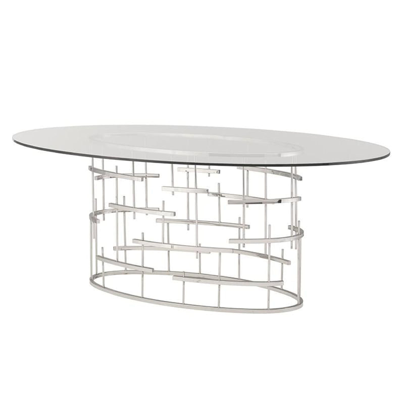 ISABIS DINING TABLE CLEAR STAINLESS - DINING TABLE