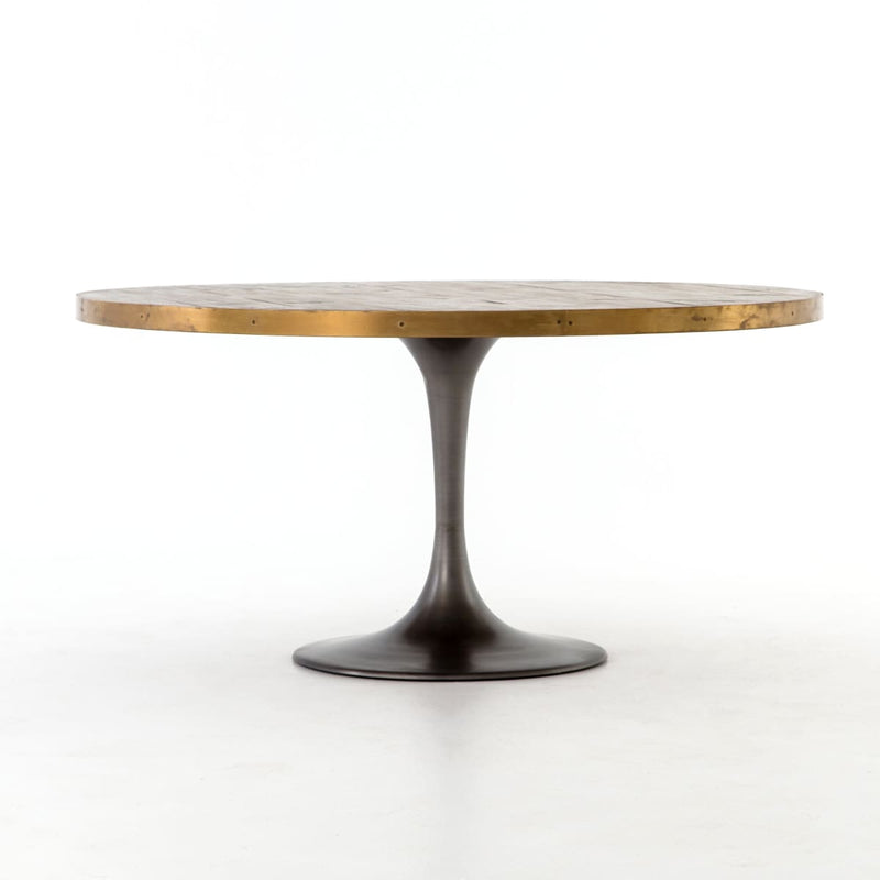IVAN 60 ROUND DINING TABLE : Vessel Grey Polished Brass Light Burnt Oak - Dining Tables