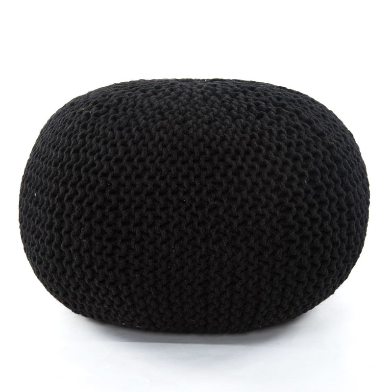JUTE KNIT POUF- BLACK