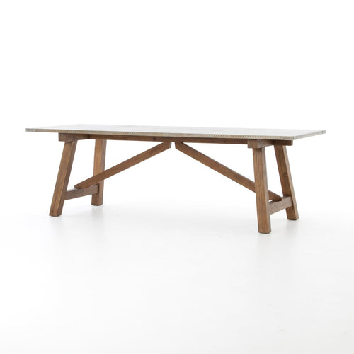 KIRKLAND DINING TABLE : Bleached Old Fir, Galvanized