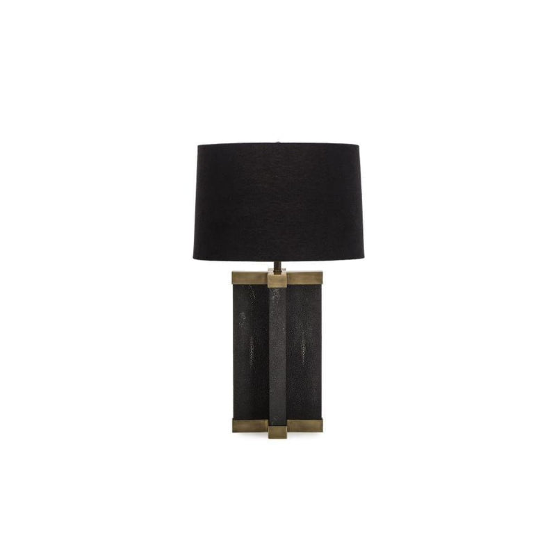 LOWELL SHAGREEN LAMP - BLACK / BLACK SHADE - LIGHTING