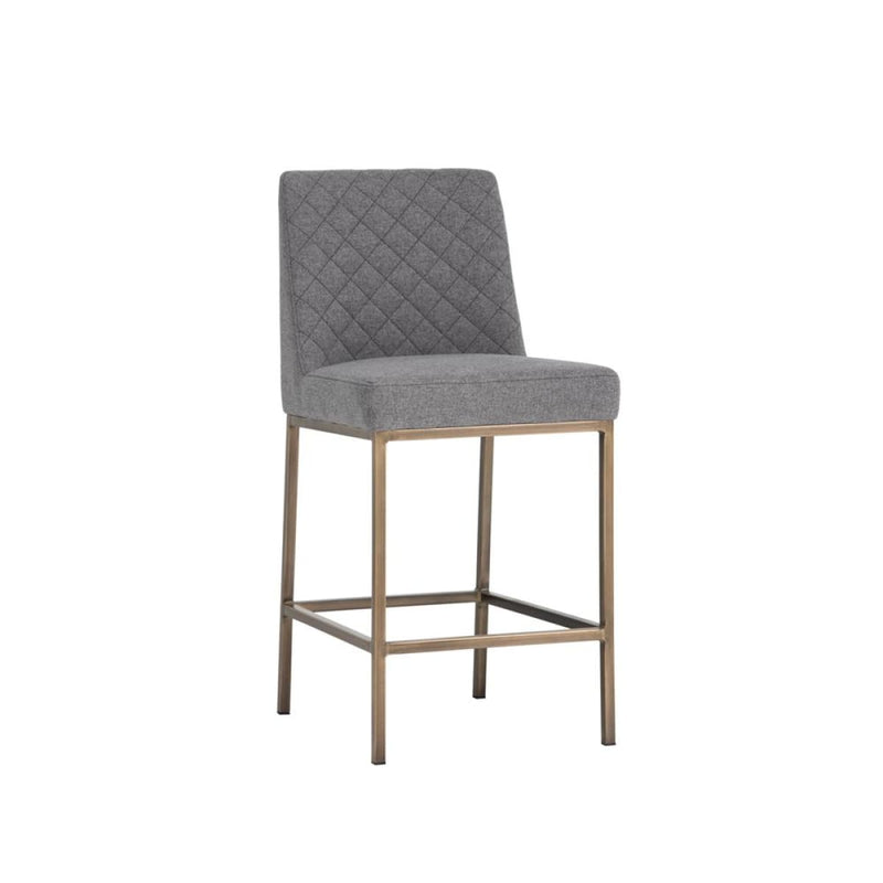 ORIANA COUNTER STOOL -ANTIQUE BRASS GREY - COUNTER STOOLS
