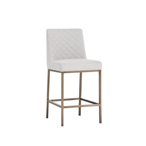 Oriana counter stool -antique brass light grey