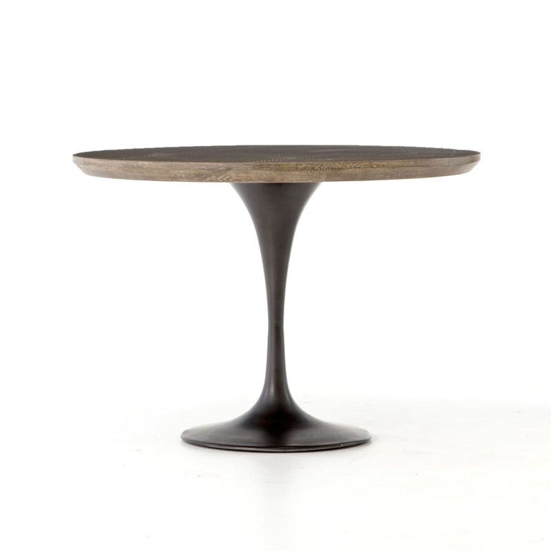 PASCAL 42 BISTRO TABLE : Dark Rustic Black Light Burnt Oak Bright Brass Clad - Dining Tables