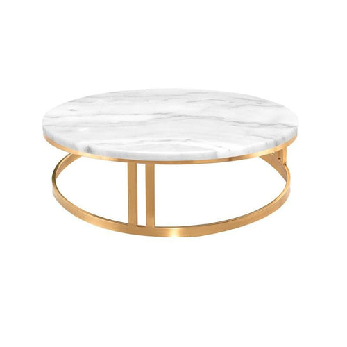 PEMTON COFFEE TABLE WHITE GOLD BRUSH - coffee tables
