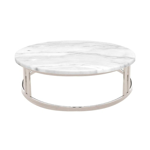 PEMTON COFFEE TABLE WHITE STAINLESS - Coffee Table
