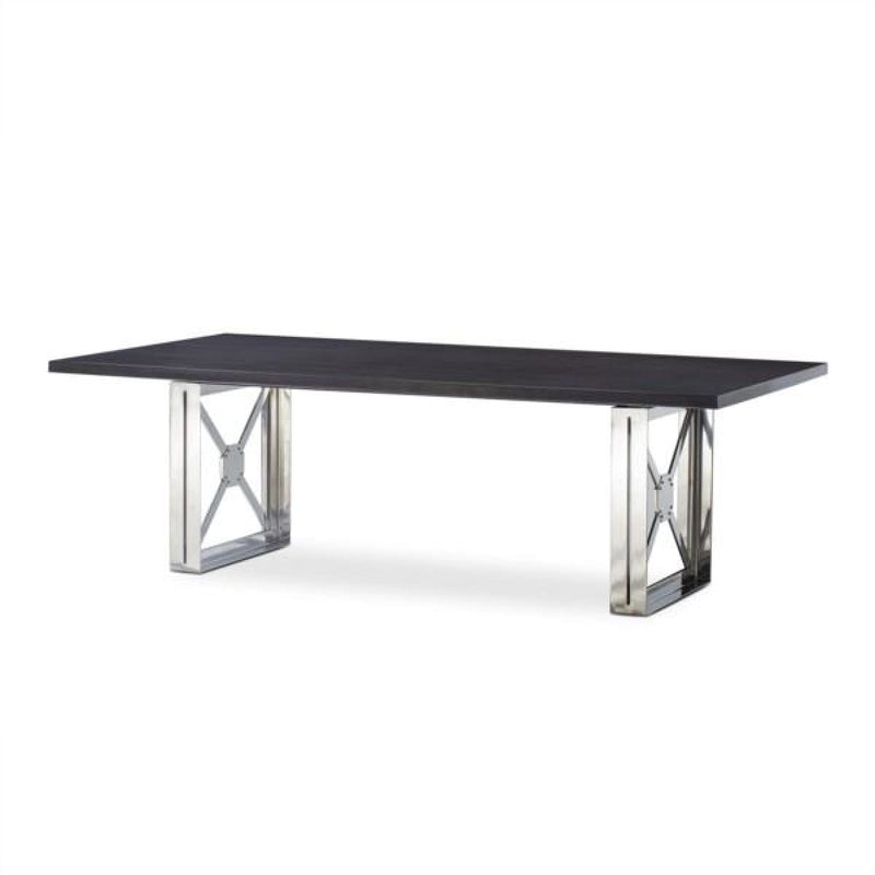 RIDGELY DINING TABLE - GREY LACQUER TOP - DINING TABLE