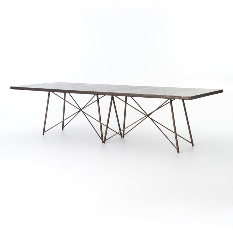 ROMINA DINING TABLE 114 : Oxidized Bronze Oxidized Iron - DINING TABLE
