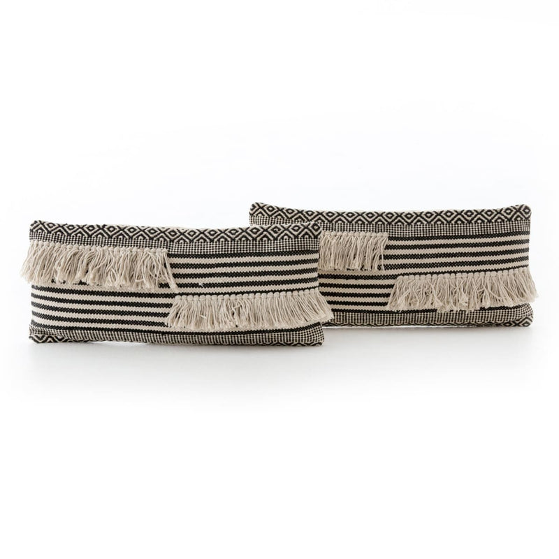 SPLIT FRINGE LUMBAR PILLOW SET OF 2 - decor