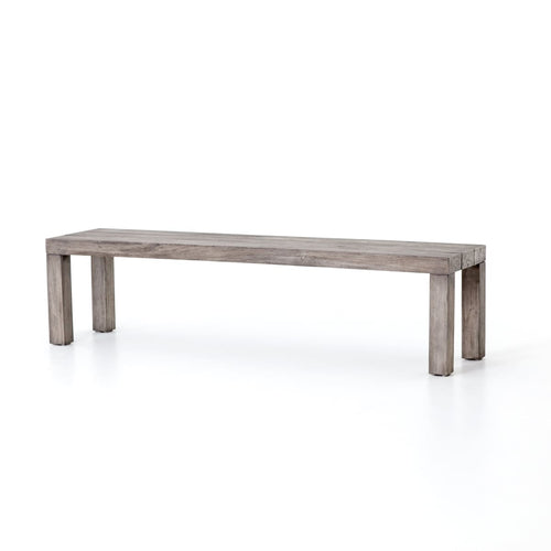 SUNORA OUTDOOR DINING BENCH: Weathered Grey Teak - bench
