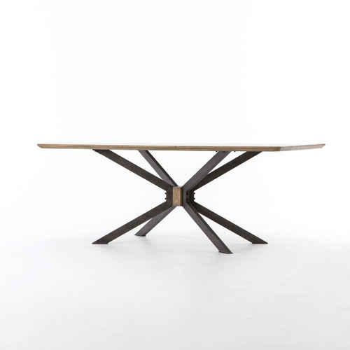 SYNDER DINING TABLE 79'' Bright Brass Clad
