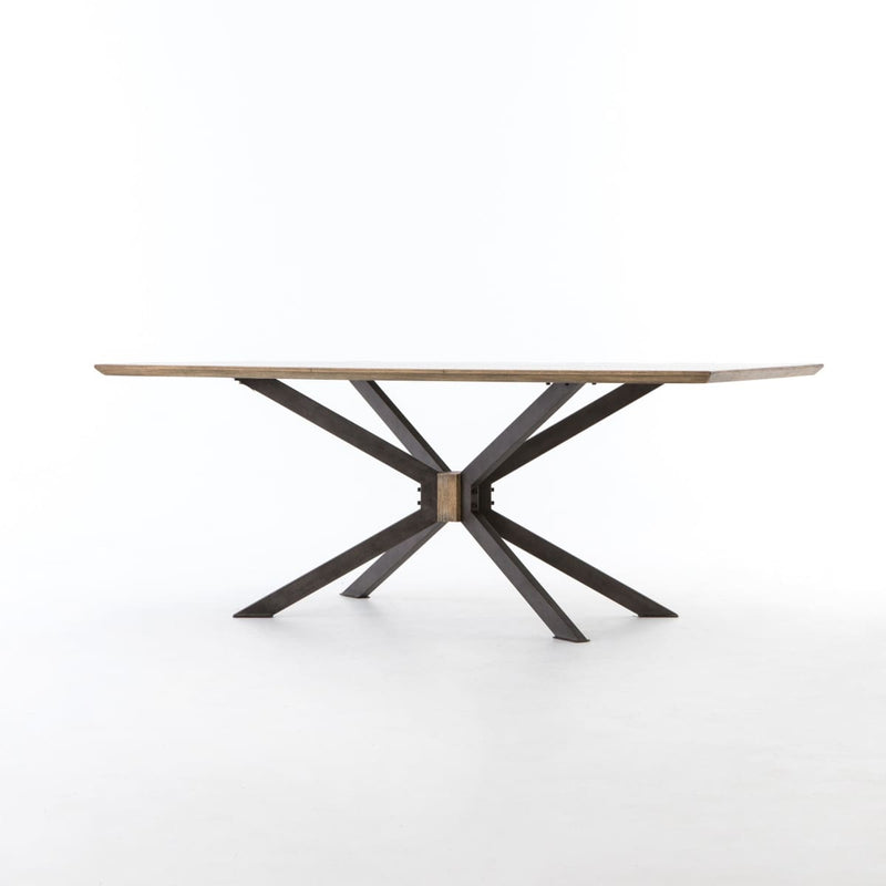 SYNDER DINING TABLE: Light Rustic Black Bright Brass Clad Sandy Oak - DINING TABLE
