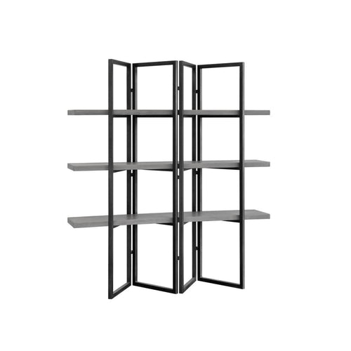 TAVON  BOOKCASE - BLACK - GREY CONCRETE