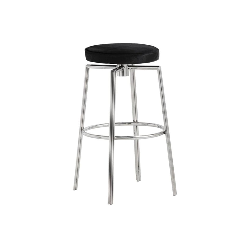TUGENDA SWIVEL BARSTOOL - SS - BLACK COWHIDE