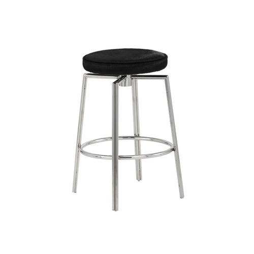 TUGENDA SWIVEL COUNTER STOOL - SS - BLACK COWHIDE