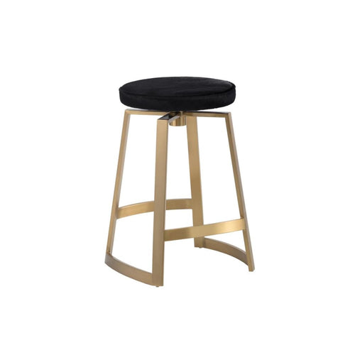 VALDA SWIVEL COUNTER STOOL - YELLOW GOLD - BLACK COWHIDE