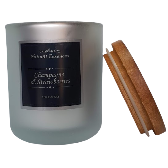 Soy Candle - Frosty Silver Glassware - Natural Essences