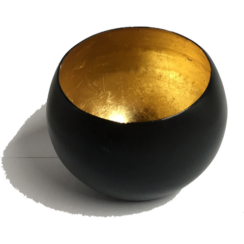 Steel Candle Holder - Black & Gold - Natural Essences