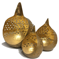 Buddha Tears Candle Holder - Set of 3 - Cut Out Gold - Natural Essences